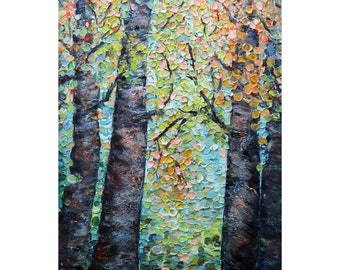 BIRCH TREES Fall in the WOODS Original Painting Abstract Cream Beige Brown Orange Yellow Blue Green Rustic Cabin Art Decor Luiza Vizoli