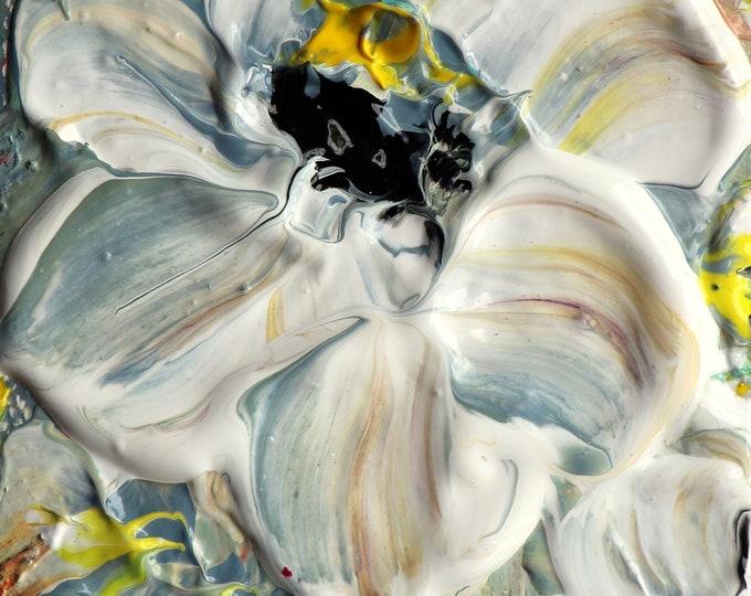 White Petunias ACEO Mini Oil Painting Original Art on Miniature Canvas White Cream Gray Yellow