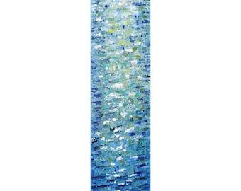 Tall vertical BLUE Water Reflections wall art ORIGINAL PAINTING canvas , Long Narrow wall decor for staircase, bathroom, kitchen, entryway