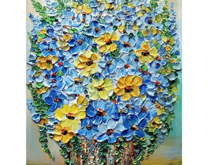 Blue Yellow White Summer Flowers Bouquet Forget Me Not Wildflowers in a Rustic Vase Art by Luiza Vizoli ORIGINAL PAINTING