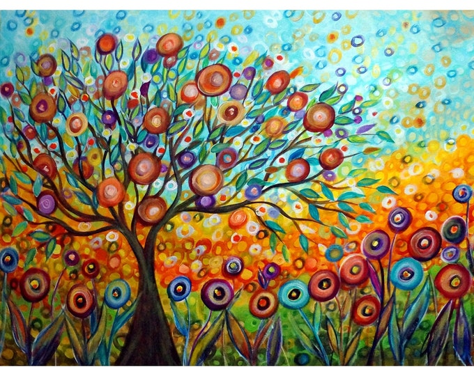 Happy Tree Peace, Harmony and Hope Painting Olive Blossom Whimsical Colorful Flowers Garden of Eden