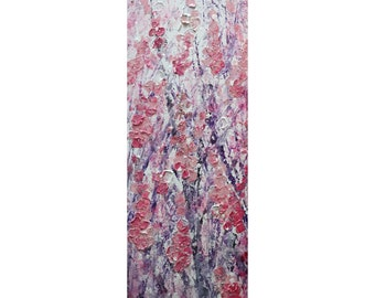 PINK SAKURA Blossom Tall vertical wall art ORIGINAL Painting Narrow Canvas wall decor for staircase, bathroom, kitchen, entryway