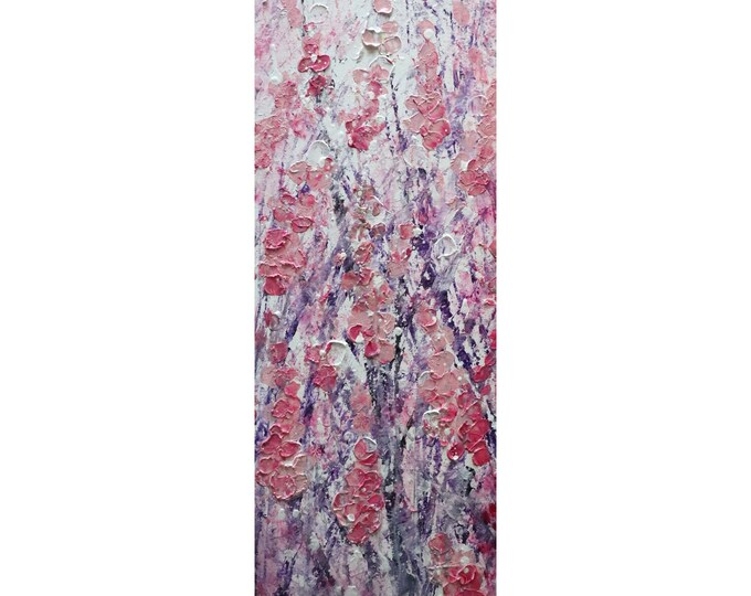 PINK SAKURA Blossom Tall vertical wall art ORIGINAL Painting Narrow Canvas wall decor for staircase, bathroom, kitchen, entryway