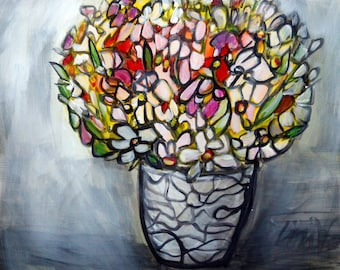 Flowers Bouquet Modern Colorful Happy Painting in shades of gray, white, green, yellow, orange, pink