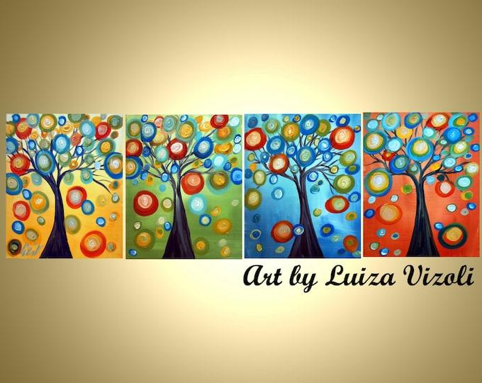 "ORIGINAL Painting TREES Seasons 64"" Original Painting Whimsy Seasons Landscape Multi Panel- ready to ship"