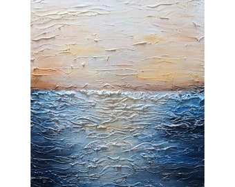 Abstract Ocean Sunset Painting Minimalism Art Large Canvas Blue Charcoal Cream White Light Brown