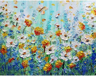 Made to Order Summer Colors Daisy Wildflowers and Butterflies Impasto Oil Original Painting Art by Luiza Vizoli