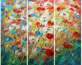 RAINING FLOWERS Original Abstract Palette Knife Triptych Large Oil Painting SUMMER Days by Luiza Vizoli 36x36