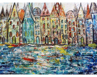 Amsterdam Original Painting Abstract Textured Palette Impasto Art for Business , Office Wall Art