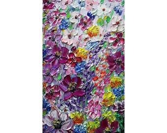 Purple Blue Pink White Wildflowers Original Painting Vertical Canvas Ready to Ship Art by Luiza Vizoli