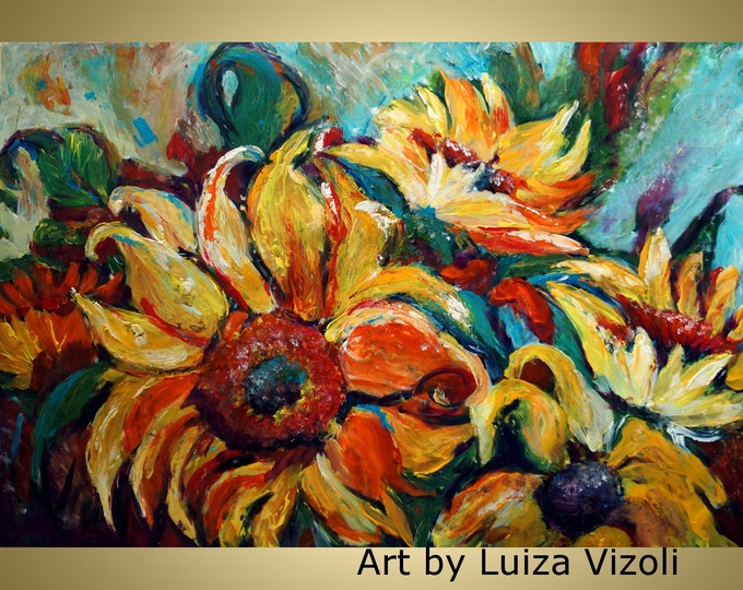 Sunflowers Original Modern Abstract Palette Impasto Large Flowers Painting on Canvas  by Luiza Vizoli MADE to ORDER