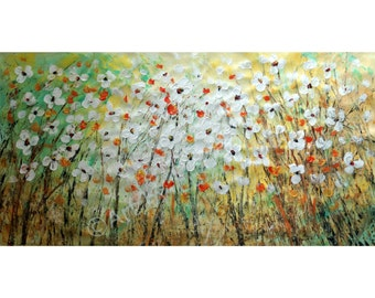 Large Original Painting Flowers Landscape Abstract Oil Impasto on HUGE Canvas