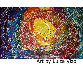 XXL Painting Abstract Pollock Inspired COLORFUL STARS Art by Luiza Vizoli Ready to ship