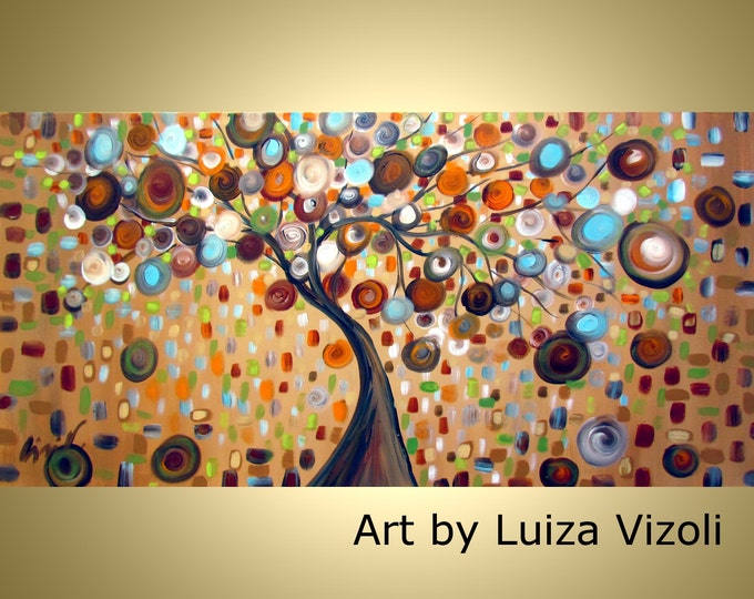 BROWN BLUE Tree Original Abstract Painting Tree Landscape Falling Into Fall by Luiza Vizoli