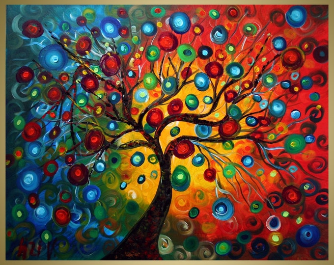 SEASONS Tree Large Painting SERENADE Modern Abstract Fantasy  Landscape Made to Order