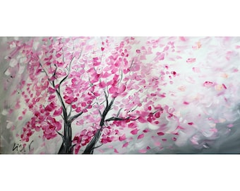 SAKURA Blossom Original Painting Pink White Gray Abstract Trees Ready to Ship Large Canvas 48x24