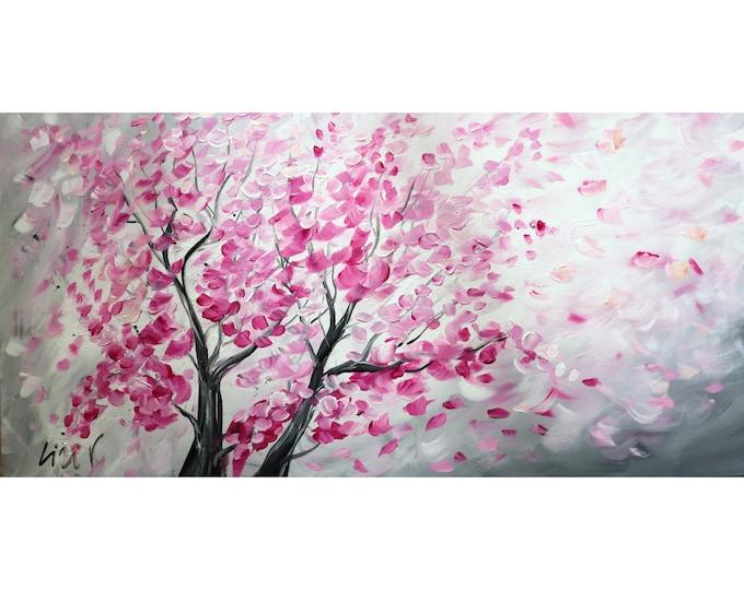 SAKURA Blossom Original Painting Pink White Gray Abstract Trees Ready to Ship Large Canvas 48x24