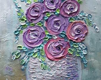 Original Ranunculus Flowers Lavender Purple Colors SPRING FLORAL Impasto Oil Canvas Art by Luiza Vizoli