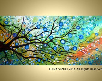 Original Abstract Large Modern Fantasy Tree Landscape Oil Painting Colorful Circles in Aqua  Colors by Luiza Vizoli
