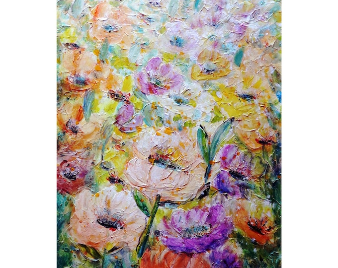 Summer soft pastel Flora Flowers in Bloom Pink Purple Lavender Yellow Green Lovely Colors Textured Impasto Painting Art by Luiza Vizoli