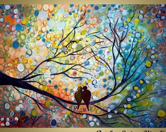 XXL HAPPY MOMENTS Original Wall Art Landscape Birds Whimsical Painting  on Large Canvas by Luiza Vizoli