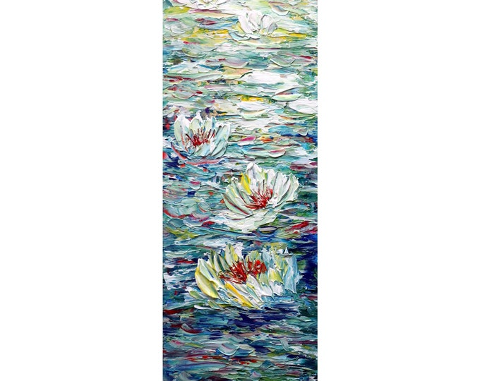 Water Lilies Tall Vertical Wall ART ORIGINAL PAINTING canvas Abstract, Long Narrow Tropical Beach decor for  bathroom, kitchen, entryway