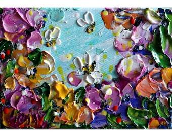 Spring Bees and Flowers Original Oil Painting Art by Luiza Vizoli CUSTOM SMALL ART 4x6, 6x8