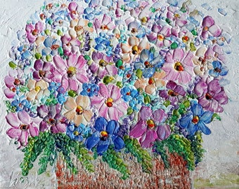 Country Flowers Wildflowers Bouquet Rustic Pot Pink Blue White Yellow Heavy Textured Palette Impasto Oil Original Painting by Luiza Vizoli