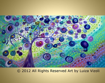 SUMMER WAVES Large Canvas Original Painting Blue Green Purple Modern Abstract Fantasy Tree Landscape