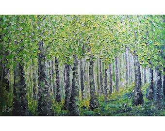 Spring Forest Extra Large Canvas Original Oil Painting Platte Impasto Textured Art by Luiza Vizoli