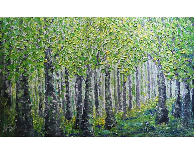 Spring Forest Extra Large Canvas Original Oil Painting Platte Impasto Textured Art by Luiza Vizoli