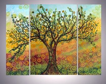 OLIVE Modern TREE Original Abstract Modern Oil Painting Triptych Artwork by Luiza Vizoli CUSTOM