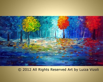 DREAM FOREST Original Large Modern Painting Trees Landscape Magic into MOONLIGHT by Luiza Vizoli