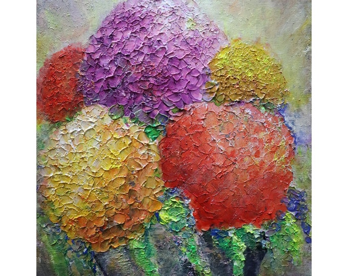 Summer Hydrangea Flowers Bouquet Original Modern Impressionist Oil Painting