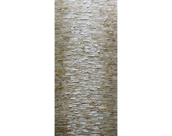 MISTY Sand and Water Rich Impasto oil Painting Beige Cream Gray White Neutral Colors Art by Luiza Vizoli, Tall Narrow Vertical Canvas