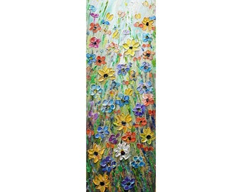 Forget Me Not Cornflower Wildflowers Black-Eyed Susan Daisy Prairie Flowers Tall Vertical Art ORIGINAL Painting for staircase,  entryway