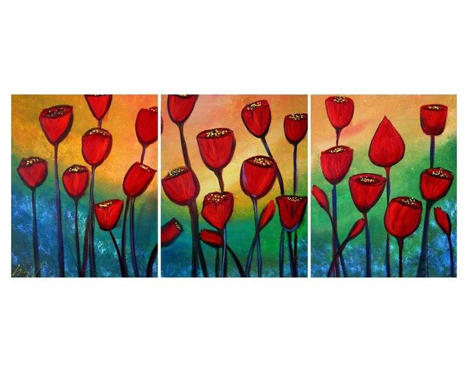 RED TULIPS  Original Oil Flowers Painting Triptych Art by Luiza Vizoli