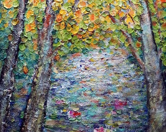 Fall Foliage Water Lilies JAPAN Changing Colors Trees Original Palette Impasto Oil Painting on Canvas Modern Impressionism Art