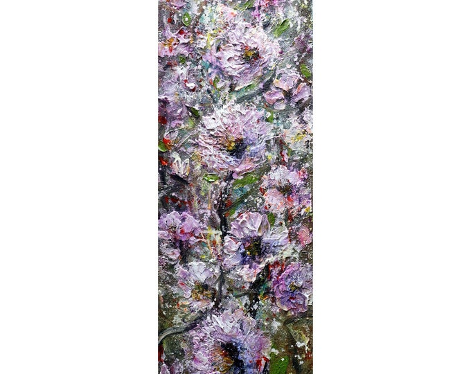 Pink Purple Lavender White Magnolia Blossom Tall Vertical Narrow Painting Original Art by Luiza Vizoli