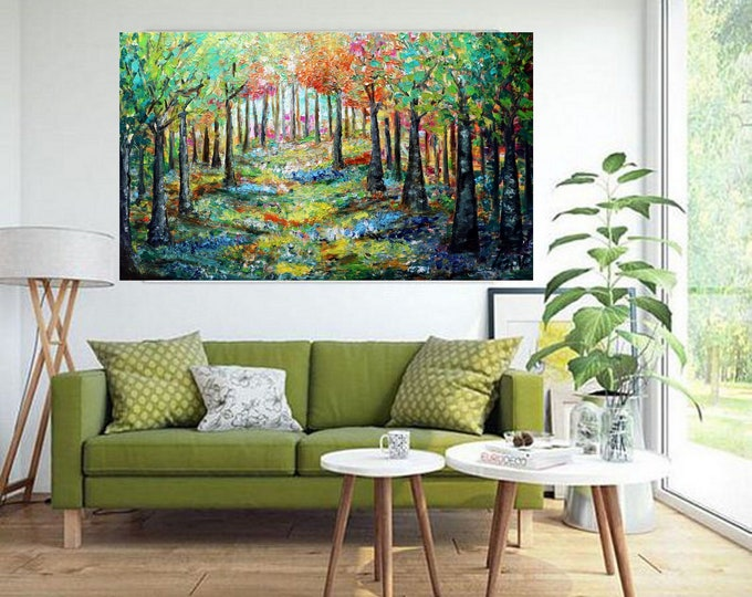 Extra Large Painting MAY FLOWERS in BLOOM  60x36 Original Modern Artwork Impasto Textured Colorful Landscape Art by Luiza Vizoli