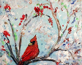 RED CARDINAL Winter Berries Painting Oil Impasto Textured Original Art White Red Blue square canvas Christmas gift idea