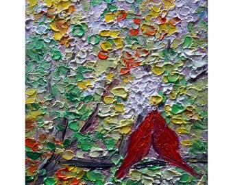 SPRING LOVE Red cardinals Birds Impasto Oil Painting Original Art