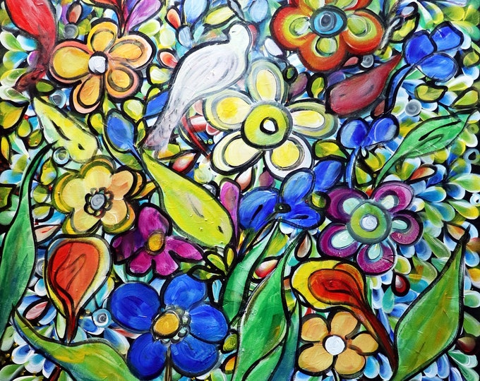 Birds Flowers and Butterflies When the Flowers Were Singing Original Painting Whimsical Colorful Unique Bold Beautiful Artwork