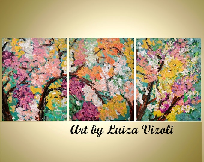 COLORS of SPRING BLOSSOMS Abstract Original painting Triptych Art Trees Impasto Textured Large Artwork 54x24, 60x24, 72x36 , 72x48