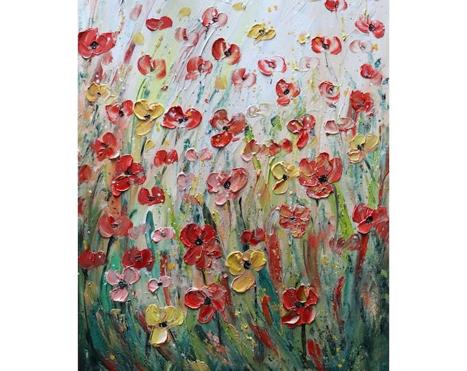 WILDFLOWERS Colors of Summer Flowers Nature Original Oil Painting on Canvas White, Orange, Peach, Yellow, Green, Blue