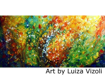 OIL Painting Through Four Seasons Leaves Original Handmade Artwork ABSTRACT Textured Colorful Original Art on Canvas by Luiza Vizoli 48x24