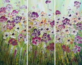 June Flowers Garden Oil Impasto Original Painting Multi Panel 36x36 White Purple Blue Green Orange