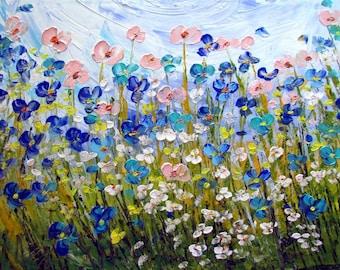 XXL Oil Painting WILDFLOWERS Large Canvas Original Palette Knife Impasto Oil Painting Flowers Fine Art by Luiza Vizoli