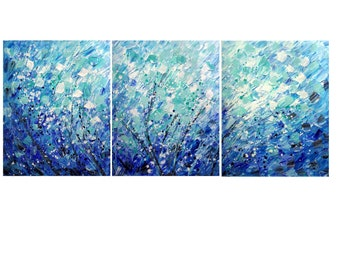 HUGE BLUE Painting Calming Petals Rain Art by Luiza Vizoli 72x30 or LARGER Oversize Canvases