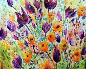 Bright Spring Flowers Tulips Impasto Oil Flowers Painting Forget Me Not Flower Art by Luiza Vizoli 20x20